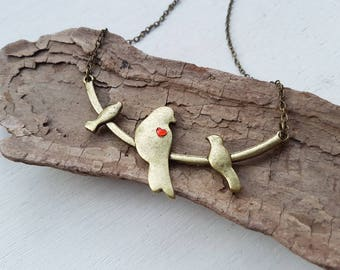 Bird necklace. Birds on branch necklace. Love birds necklace bird pendant. Vintage bird chain necklace jewellery bird accessories birds gift