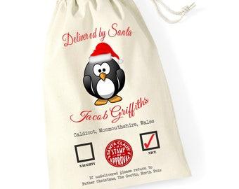 Personalised Penguin Naughty Nice Santa Sack Xmas Present Stocking Drawstring Custom Printed Keepsake Tumblr Pintrest