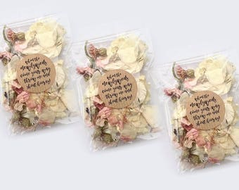 10 Personalised Confetti Packs   Slow Fall Confetti Packets/Bags   Real Petal, Biodegradable, Throwing Wedding Confetti Petals