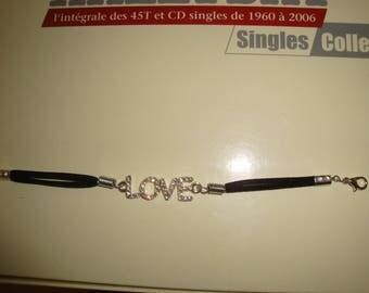 clear rhinestone LOVE Black Suede bracelet