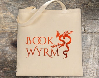 Book Wyrm Red Dragon Tote bag - Reader Gift - Writer Gift - Book Bag