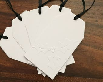 Hand made Embossed Christmas/Holiday Gift Tags. Large Tags with a Holly pattern. Choice of ribbon colour. (5 tags). GT31