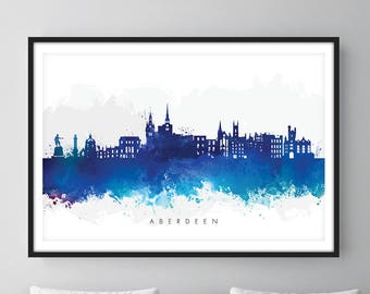 Aberdeen Skyline, Aberdeen Scotland Cityscape Art Print, Wall Art, Watercolor, Watercolour Art Decor [SWABZ06]