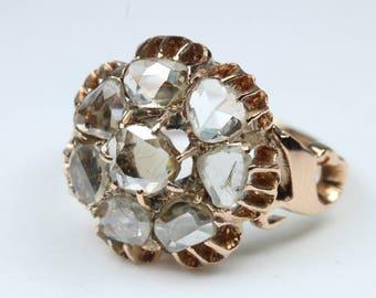 Boho Style 9ct Rose Gold Mine Cut Diamond Daisy Cluster Ring Size: L-5 1/2