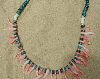 Turquoise, Angel hair coral  necklace .