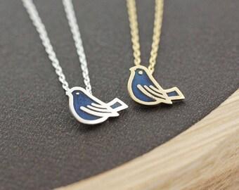 Tiny Bird enamel pendant necklace, Peace Dove Bird Pendant Necklace, Swallow necklace, Bridesmaid necklace, dove necklace, sparrow necklace,