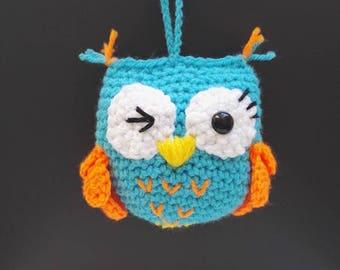 Little OWL has hanging hook Turquoise neon Orange