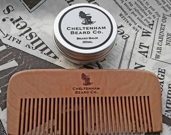 Lemongrass Beard & Moustache Balm Butter/Peach Wood Beard Comb Set - Cheltenham Beard Co. Natural Ingredients. Traditional Recipe.