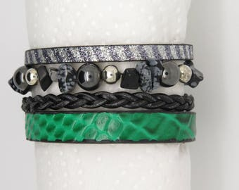 LEATHER CUFF BRACELET GREEN, BLACK WITH HEMATITE, OBSIDIAN, AND SILVER COLOURED BEADS