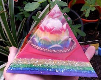 Rainbow Lotus, Orgone/Tensor Generator Pyramid, Glow in the Dark