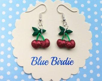 Cherry dangle earrings cherry jewellery cherry jewelry glitter cherry earrings fruit jewellery summer earrings rockabilly cherry gifts