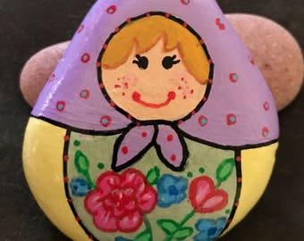 Blonde Matryoshka Doll, Russian Babushka Doll, Painted Rock, Collectible & Decor