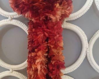 Beautiful Winter Warm Boho Hand Knitted Long Scarf In Deep Bronze