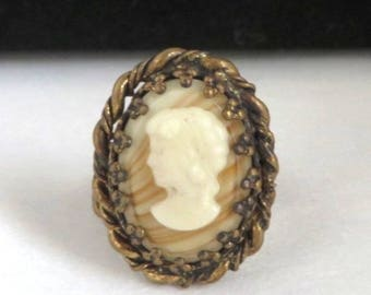 Vintage Brasstone Cameo Ring, Swirled Stone Cameo Adjustable Costume Jewelry Ring