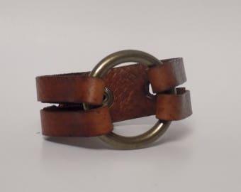 Brown Leather Bracelet, Leather with Brass  , Nickel Free Jewelry, Women's Leather Bracelet, Men's Leather Bracelet, Leather Jewelry, Cuff