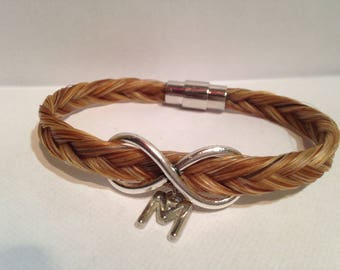 horsehair with Infinity sign bracelet, letter and clasp magnet