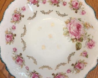 Antique hand painted rose plate