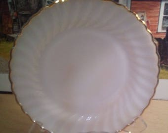 "6 Fireking anniversary gold trim 10"" dinner plates"