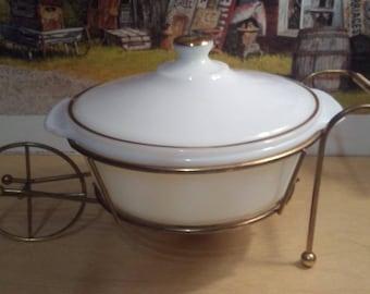 Vintage Fireking 1 1/2 qt milkglass gold trim casserole with warmer