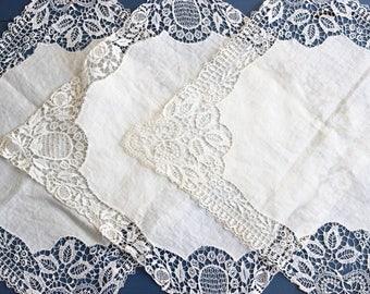 antique lace handkerchief, set of 3, lace napkin, antique handkerchief, bridal linen, wedding linen, antique lace, Edwardian, handmade