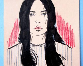 Moody-Signed Original Fashion Sketch