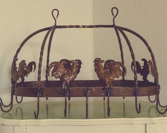 Large Vintage Kitchen Iron Hanging Pot Rack (16 Hooks) w/ Roosters