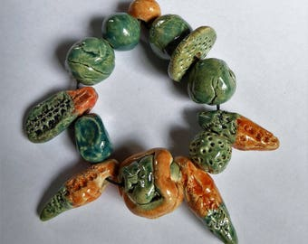 Alien Beads - Artisan made ceramic beads - set of 13 - Pods and beads - Teal and orange