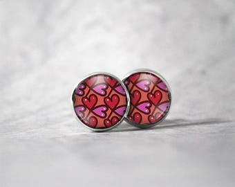 Earrings cabochon 10 mm / hearts