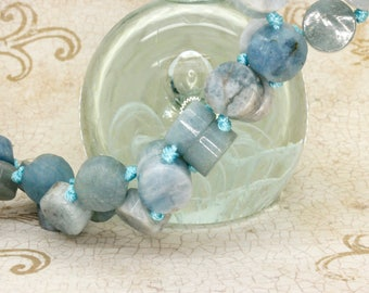 Aquamarine Cylinder Round Tube Smooth Gemstone Beads