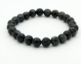 "Black Stripe Jasper Beads Size 8mm. Length 8"" Semi-Precious Gemstone Elastic Cord Bracelet Accessories"