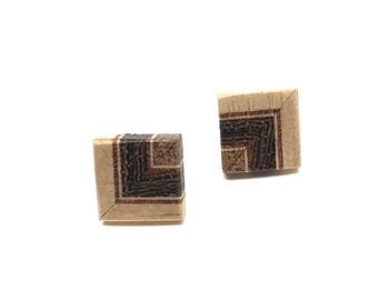 Wooden ear studs with sterling silver