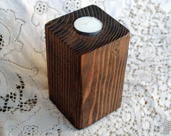 Real Wood Wedding -  Wedding Small Pillar Votive Candle Holder