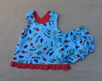Dr. Seuss 2 piece outfit, Dr. Seuss One Fish Two Fish outfit, Crossback top with diaper cover