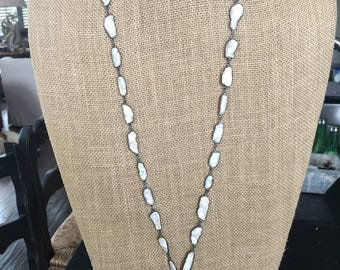 Long Pearl Bezeled Chain Necklace with Premium Pendant
