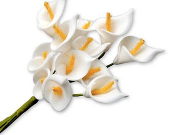 12 x Beautiful White Foam Mini Calla Lilies - Card Making Craft Flower Embellishments Wedding