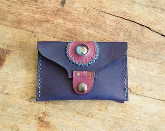 Leather purse. Belt loops. Dyed purple and fuchsia