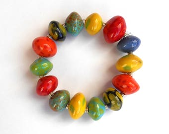 Rainbow ceramic Kazuri fair trade bracelet