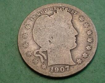 Barber Quarter 1907-D G / AG<> # ET3759