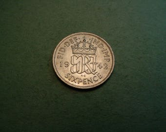 1942 Great Britain 6 Pence  Brilliant Uncirculated<>ET6189