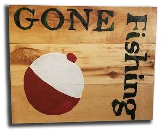 Gone Fishing Bobber Pallet Sign