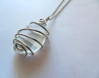 Girasol Quartz pendant, girasol necklace, wire wrapped girasol, wire wrapped quartz pendant,clear quartz pendant, gift for her