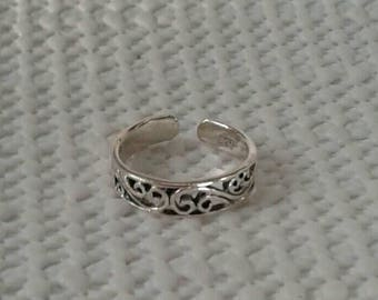 Toe Ring, Solid Sterling Silver Victorian Swirl Toe Ring, Body Jewelry, Adjustable Toe Ring