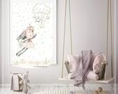 Printable artwork digital download SWEET RABBIT GIRL for nursery decoration poster, wall art, ilovedigi