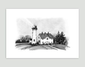 Lighthouse on a Foggy Day, Cape Cod – Fine Art Print of Original Pencil Drawing – Large Size