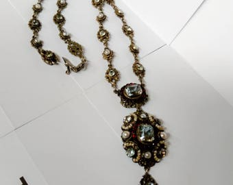 Austro-Hungarian Antique Silver & Pearl Necklace