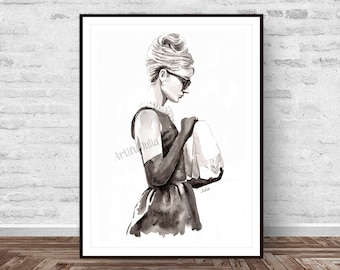 Audrey Hepburn painting, fashion art print, breakfast at Tiffany print