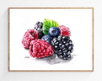 blueberry  print, blackberry art,  dessert art, kitchen art