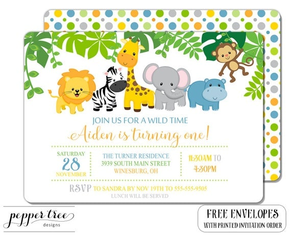 Safari Birthday Invitation Birthday Jungle Animal Invitation