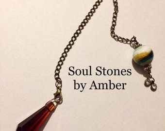 Brown Glass Pendulum with Dyed Glass Bead