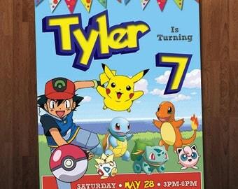 Pokemon Birthday Invitation, Pikachu Invitation, Ash Invitation, Custom Personalized Printable Digital Invite